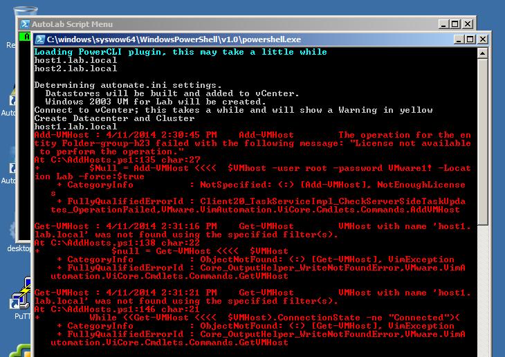 Autolab - error adding ESXi hosts